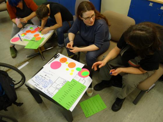 Participants used coloured card to plan the new centre.