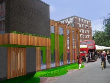 A visualisation of  refurbished Green Lane Baptist Church