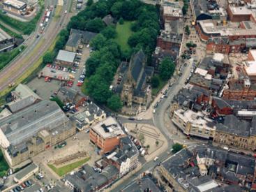 Bury town centre aerial view