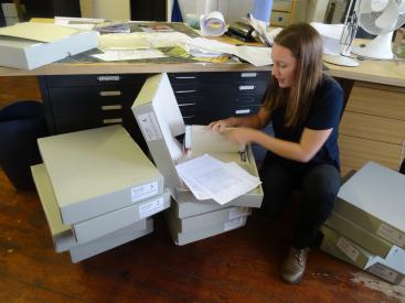 Delphine sorting out the archive boxes