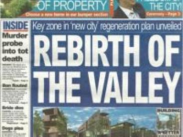 URBED's plans for the Valley made front page news of the Telegraph and Argus