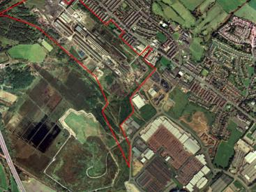 Aerial photo of Horwich with indicative site boundary
