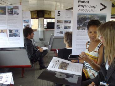 Consulting people about their experiences of way-finding in Walsall aboard the URBED Routemaster