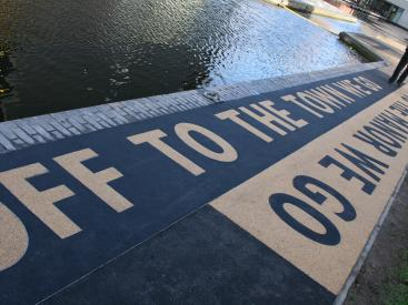 Way-finding artwork installed on Towpath