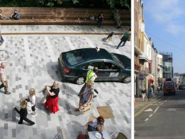 "Brighton New Road before and after. The result was a 93% reduction in motorized traffic, car speeds fell to <13mph, 22 % increase in cycling, 150% increase in pedestrian activity and a 600% increase in lingering activity. Success is attributed to systematically analyzing sociability, mobility and the quality of the environment together."" (Illustrations and statistics: Jeff Risom)"