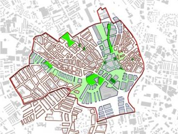 Plan from the design guide showing the city centre builing line and open spaces