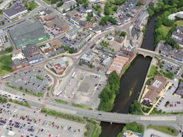 Aerial View of Radcliffe town centre
