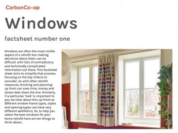 Factsheet number one : Windows