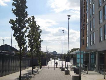 Temple Quay view down cycleway