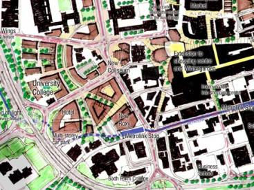 Detail of Oldham town centre masterplan