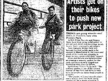 A press cutting about the project